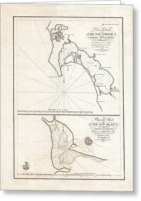 U.s On The Continent Of America Greeting Cards - 1825 Victoria Map of San Diego California and San Blas Mexico  Greeting Card by Paul Fearn