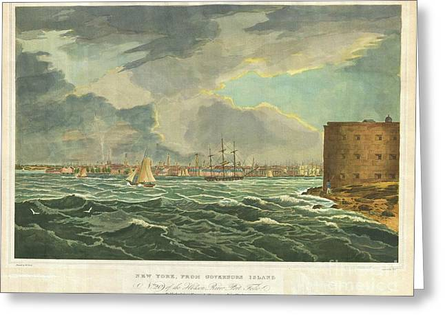 Appreciation Of Art Greeting Cards - 1825 Wall and Hill View of New York City from the Hudson River Port Folio Greeting Card by Paul Fearn