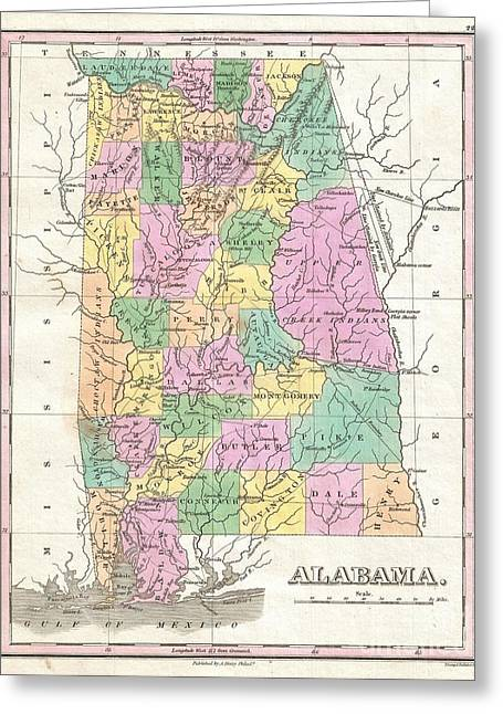 Old And In The Way Greeting Cards - 1827 Finley Map of Alabama Greeting Card by Paul Fearn