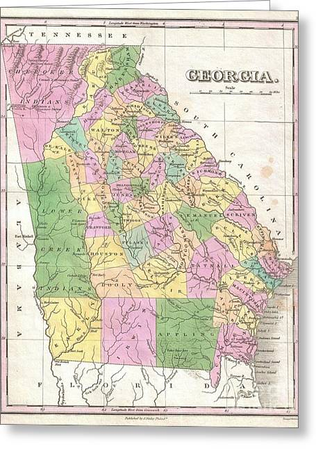 Old And In The Way Greeting Cards - 1827 Finley Map of Georgia Greeting Card by Paul Fearn