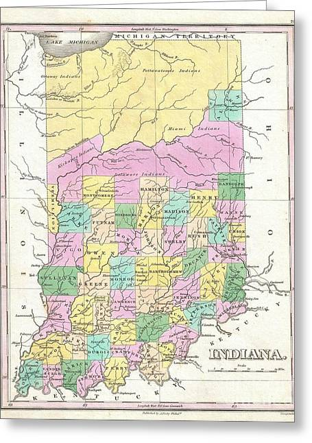Old And In The Way Greeting Cards - 1827 Finley Map of Indiana Greeting Card by Paul Fearn