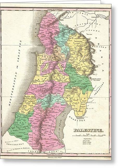 1827 Finley Map Of Israel  Palestine Holy Land Greeting Card by Paul Fearn