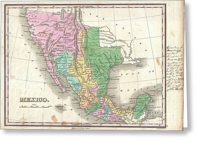 Incarnation Greeting Cards - 1827 Finley Map of Mexico Upper California and Texas Greeting Card by Paul Fearn