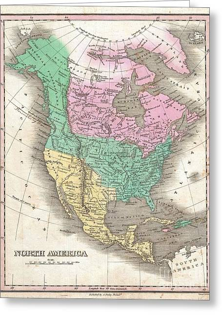 U.s On The Continent Of America Greeting Cards - 1827 Finley Map of North America Greeting Card by Paul Fearn