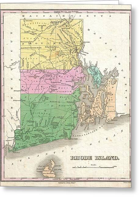 Rhode Island State Map Greeting Cards - 1827 Finley Map of Rhode Island Greeting Card by Paul Fearn