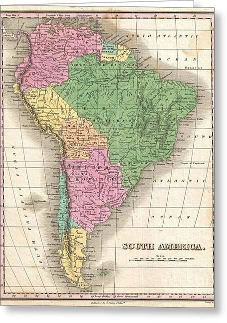 1827 Finley Map Of South America Greeting Card by Paul Fearn