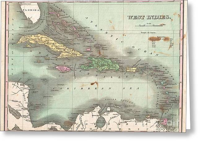 Map Of Cats Vintage Map Greeting Cards - 1827 Finley Map of the West Indies Caribbean and Antilles Greeting Card by Paul Fearn