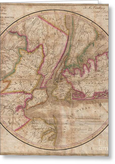 Staten Island Ferry In New York Greeting Cards - 1828 Eddy Map of New York City and 30 Miles Around Greeting Card by Paul Fearn