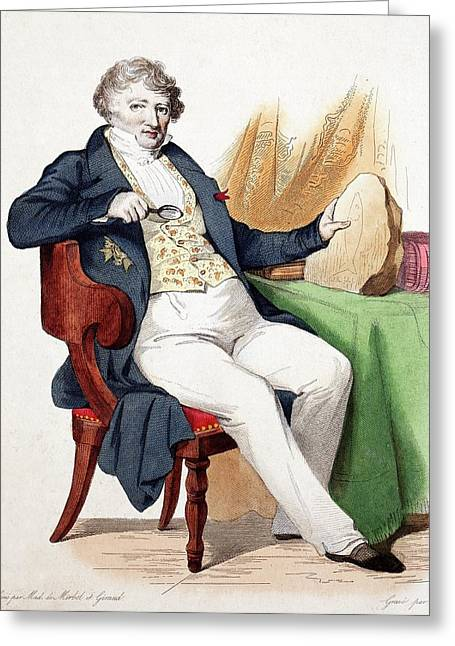 1830 Colour Portrait Baron Cuvier Fossil Greeting Card by Paul D Stewart