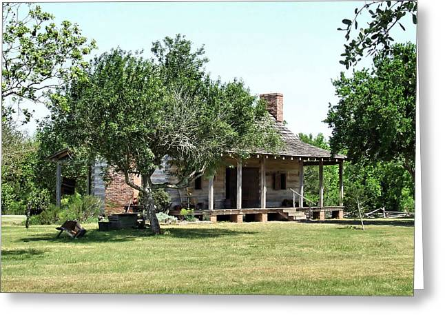 Dog Trots Photographs Greeting Cards - 1830s Texas Dog-Trot Cabin Greeting Card by Casey Jones