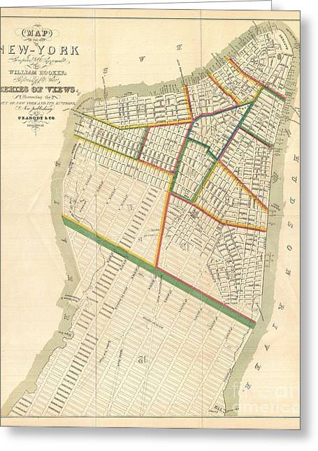 New To Vintage Photographs Greeting Cards - 1831 Hooker Map of New York City Greeting Card by Paul Fearn