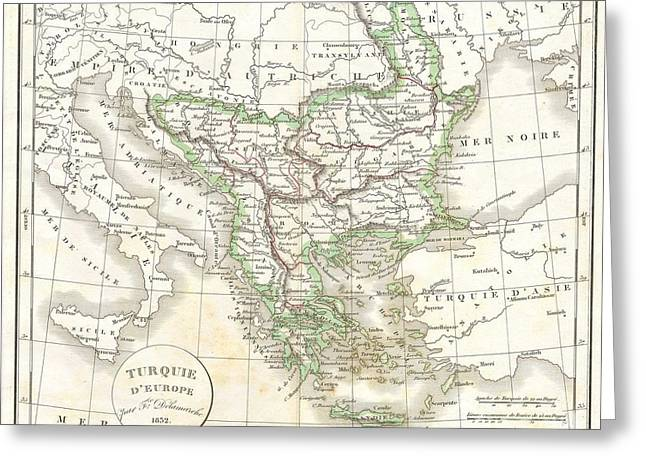 1832 Delamarche Map Of Greece And The Balkans Greeting Card by Paul Fearn