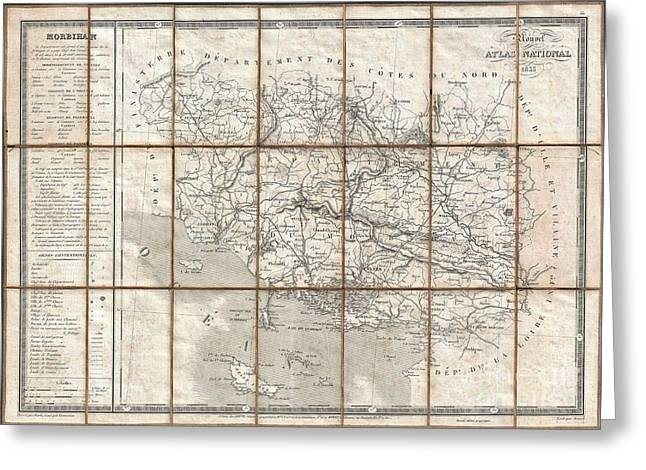 Most Influential Musician Greeting Cards - 1833 Charle Map of the Dept of Morbihan Bretagne France Greeting Card by Paul Fearn