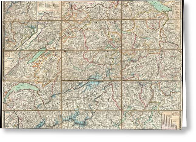 Old Roadway Greeting Cards - 1834 Keller Pocket Map of Switzerland Greeting Card by Paul Fearn