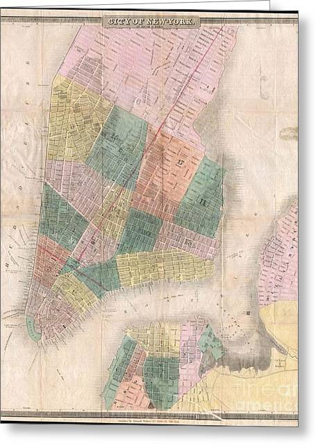 Hands On A Book Greeting Cards - 1835 David Burr Map of New York City Greeting Card by Paul Fearn