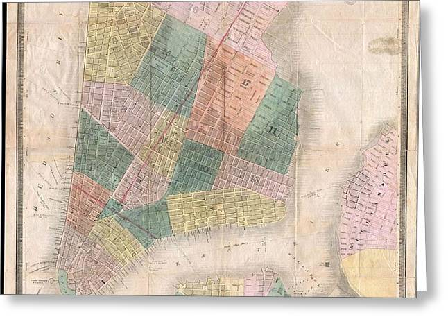 1835 David Burr Map of New York City Greeting Card by Paul Fearn
