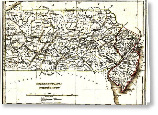Pa Drawings Greeting Cards - 1835 Pennsylvania and New Jersey Map Greeting Card by Bradford
