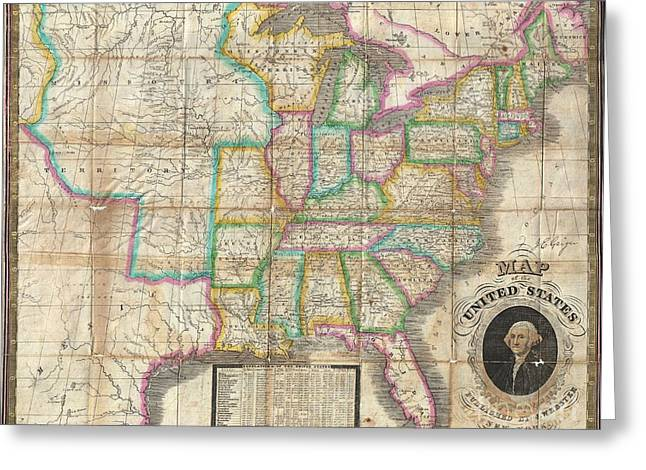 Slightly To The North Greeting Cards - 1835 Webster Map of the United States Greeting Card by Paul Fearn