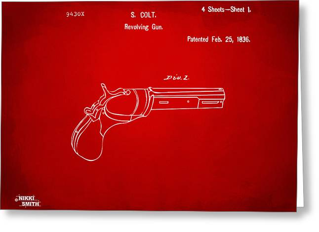 Patent Artwork Greeting Cards - 1836 First Colt Revolver Patent Artwork - Red Greeting Card by Nikki Marie Smith