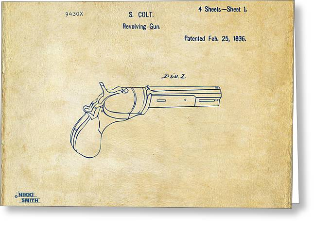 Fire Arm Greeting Cards - 1836 First Colt Revolver Patent Artwork - Vintage Greeting Card by Nikki Marie Smith