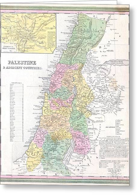 1836 Tanner Map Of Palestine  Israel  Holy Land Greeting Card by Paul Fearn