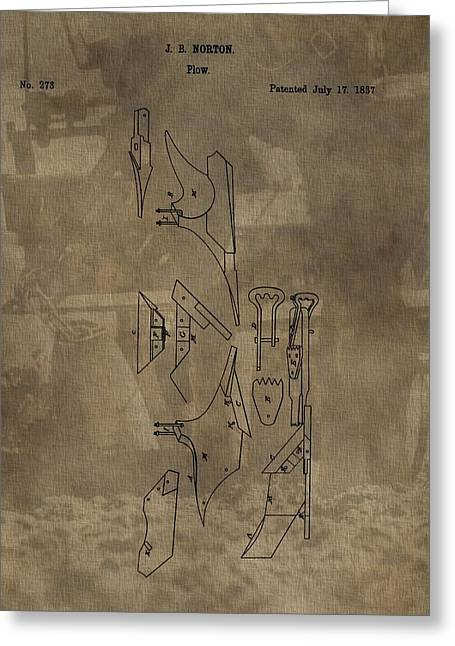 Horse-drawn Digital Art Greeting Cards - 1837 Antique Plow Patent Greeting Card by Dan Sproul