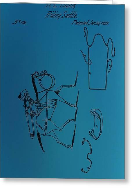 Horseback Riding Digital Greeting Cards - 1837 Riding Saddle Patent Greeting Card by Dan Sproul