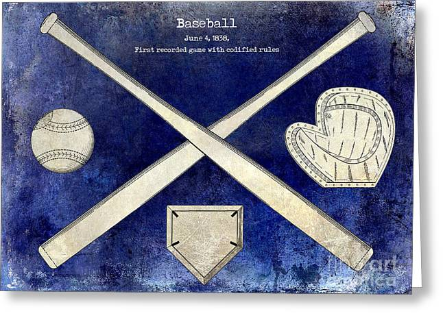 Baseball Gloves Photographs Greeting Cards - 1838 Baseball Drawing 2 Tone blue Greeting Card by Jon Neidert