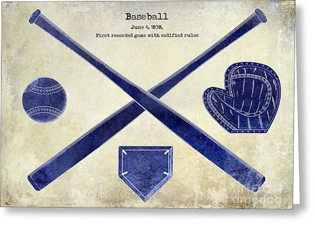 Baseball Bat Greeting Cards - 1838 Baseball Drawing 2 Tone Greeting Card by Jon Neidert
