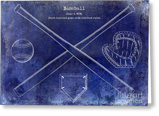 Baseball Bat Greeting Cards - 1838 Baseball Drawing Blue Greeting Card by Jon Neidert