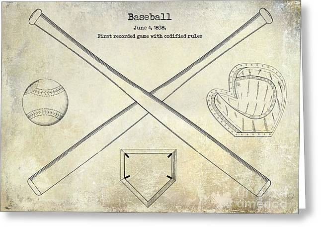 Baseball Bat Greeting Cards - 1838 Baseball Drawing  Greeting Card by Jon Neidert