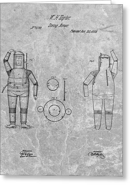 Ocean Photography Drawings Greeting Cards - 1838 Diving Armor Patent Charcoal Greeting Card by Dan Sproul
