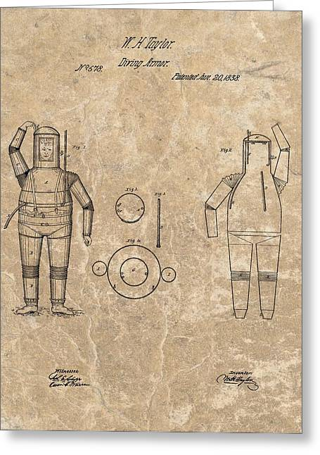 Docked Boats Mixed Media Greeting Cards - 1838 Diving Armor Patent Greeting Card by Dan Sproul