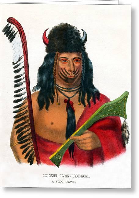 Western Themed Greeting Cards - 1838 Kish Ke Kosh Fox Indian Brave Greeting Card by Historic Image