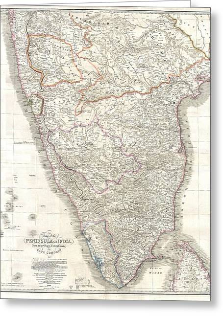 1838 Wyld Wall Map Of India Greeting Card by Paul Fearn