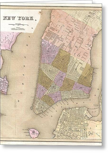Dumb And Dumber Greeting Cards - 1839 Bradford Map of New York City Greeting Card by Paul Fearn
