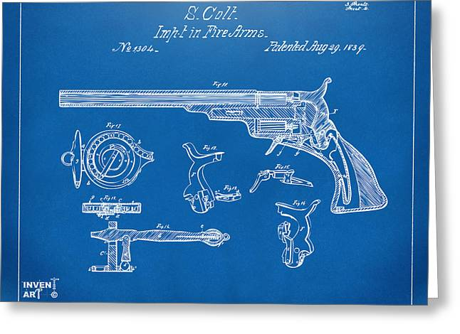 Fire Arm Greeting Cards - 1839 Colt Fire Arm Patent Artwork Blueprint Greeting Card by Nikki Marie Smith