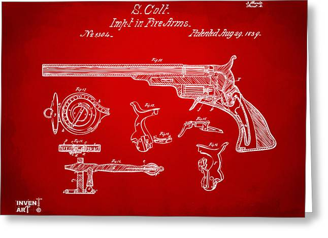 Fire Arm Greeting Cards - 1839 Colt Fire Arm Patent Artwork Red Greeting Card by Nikki Marie Smith