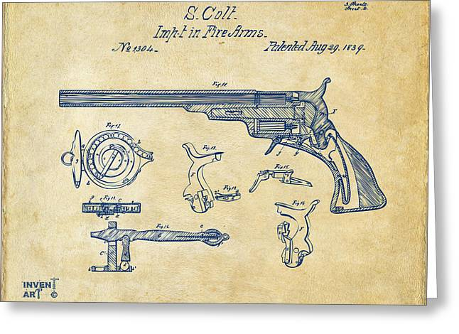 Fire Arm Greeting Cards - 1839 Colt Fire Arm Patent Artwork Vintage Greeting Card by Nikki Marie Smith