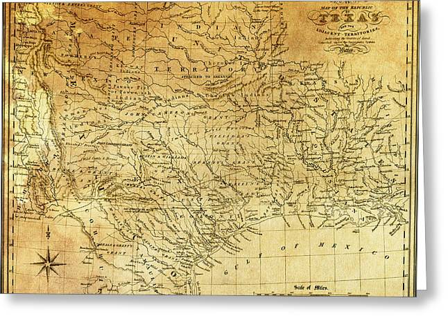 Galveston Greeting Cards - 1841 REPUBLIC of TEXAS MAP Greeting Card by Daniel Hagerman