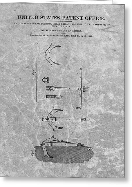 New Britain Greeting Cards - 1842 Anchor Patent Charcoal Greeting Card by Dan Sproul