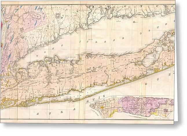 Buildings In The Harbor Greeting Cards - 1842 Mather Map of Long Island New York Greeting Card by Paul Fearn