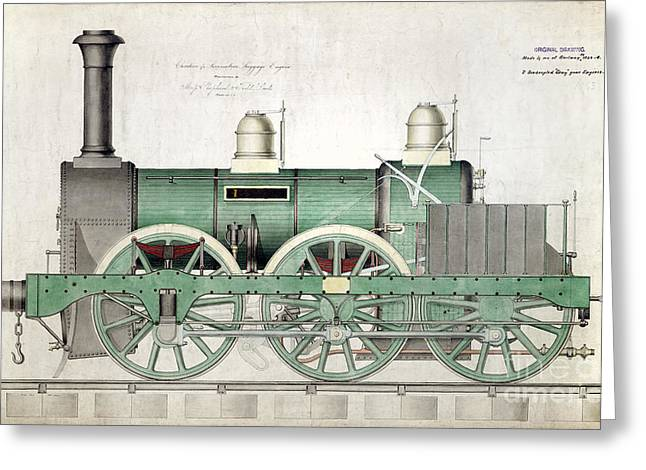 1843 Greeting Cards - 1843 Locomotive Luggage Engine Greeting Card by Jon Neidert