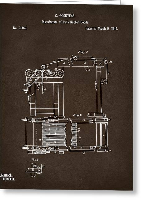 Espresso Prints Greeting Cards - 1844 Charles Goodyear India Rubber Goods Patent Espresso Greeting Card by Nikki Marie Smith