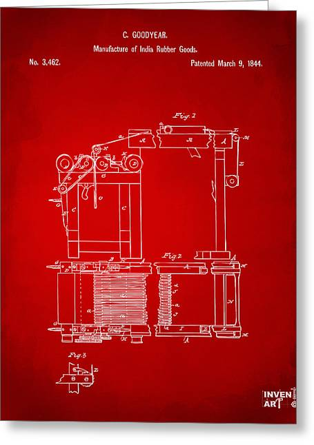 Charles Digital Art Greeting Cards - 1844 Charles Goodyear India Rubber Goods Patent Red Greeting Card by Nikki Marie Smith