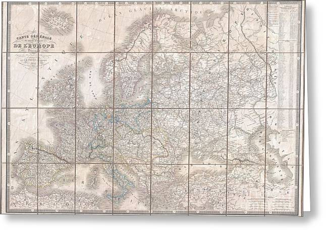 Incomprehensible Greeting Cards - 1844 Logerot Postal Pocket Map of Europe Greeting Card by Paul Fearn