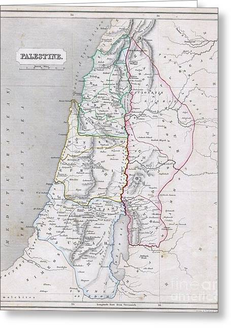 Travel Narratives Greeting Cards - 1845 Chambers Map of Palestine Greeting Card by Paul Fearn