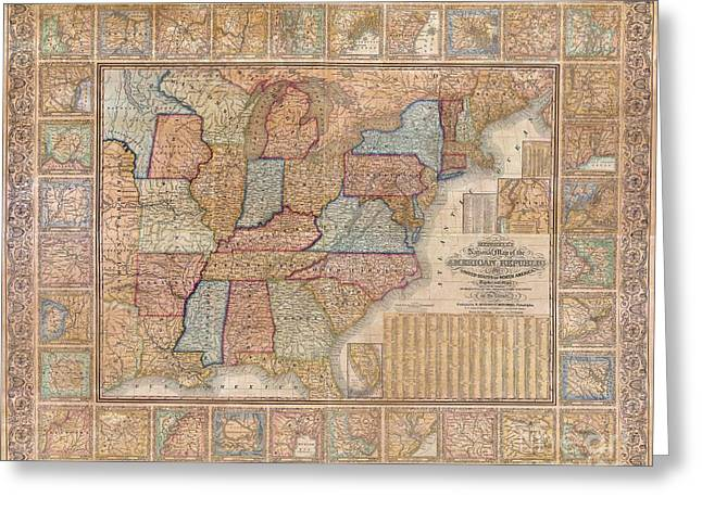 H Drew Greeting Cards - 1845 Mitchell Wall Map of the United States Greeting Card by Paul Fearn