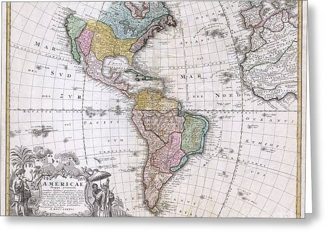 Map Of The Hand Greeting Cards - 1846 Homann Heirs Map of North America and South America  Greeting Card by Paul Fearn