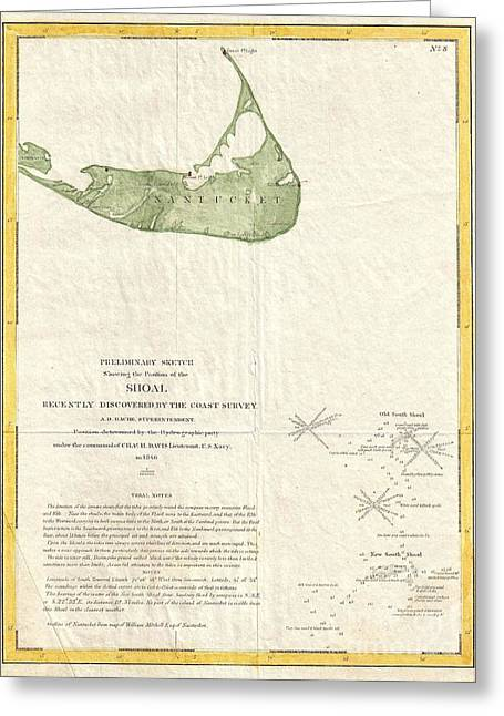 Harsh Conditions Greeting Cards - 1846 US Coast Survey Map of Nantucket  Greeting Card by Paul Fearn
